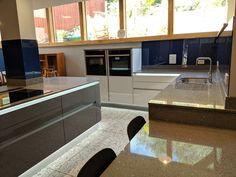 Glass Splashbacks, Kitchen Backsplash, Corner Desk, Kitchen Design, Interior Design, Projects, Blue, Furniture, Home Decor