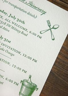 Really like this menu style/font - drawn to the green, but maybe not for save-the-dates/invites
