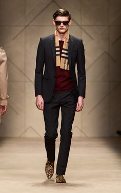 Dark grey stone suit and calfskin winklepickers on the runway of the Burberry A/W13 Menswear show