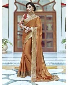 Orange Gold Satin Silk Partywear Saree