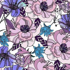 Cute beautiful floral seamless pattern. Ultraviolet roses, violas and meadow flowers.