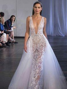 64d2dda3b Berta Deep V Neckline Wedding Dress with detachable skirt Wedding Dress  Trends, Fall Wedding Dresses