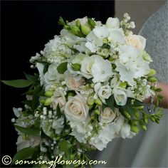 lily of the valley and champagne coloured roses