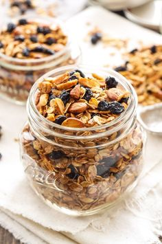 This sweet, crunchy granola is full of dried blueberries, almonds, and almond extract! Perfect for a healthy breakfast or afternoon snack!