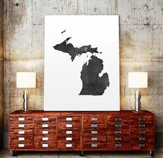 USA MAP PRINTABLE Michigan watercolor Iowa print by TypoWorld