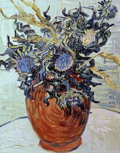 Still Life with Thistles - Vincent van Gogh 1890 Post-impressionism Vincent Van Gogh, Van Gogh Art, Art Van, Paul Gauguin, Flores Van Gogh, Desenhos Van Gogh, Van Gogh Flowers, Van Gogh Still Life, Van Gogh Pinturas