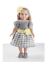 Crochet Doll Clothes & Shoes - Springtime Dress