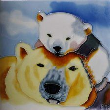 Mom and Baby Polar Bear Tile Wall Decor
