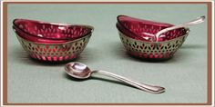 Two Sterling Silver Salt Cellars with Cranberry Glass Liners and Sterling Spoons Salt And Pepper Cellars, Salt Cellars, Salt Pepper Shakers, Silver Pooja Items, Condiment Sets, Salt Box, Vintage Tableware, Cranberry Glass, Vintage Candy