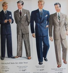 1944 Sears teenage and college men's suits