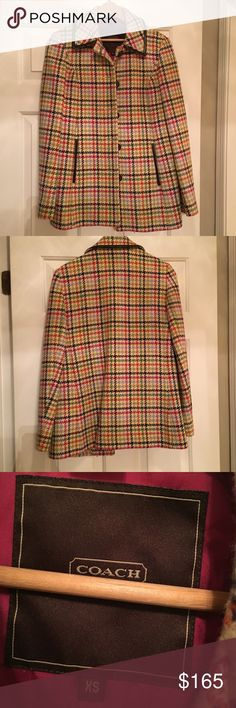 Coach Peacoat Multicolor Coach peacoat, great condition, nice color and pocket detail, deep pockets, pink logo pattern inside, no trades but feel free to send an offer Coach Jackets & Coats Pea Coats