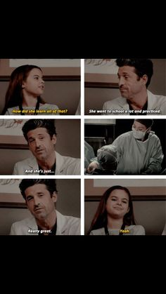 Girl: How did she learn all of that? Derek Shepherd: She went to school a lot and practiced. Greys Anatomy Funny, Grey Anatomy Quotes, Mark Sloan, Grey's Anatomy, Sweet Romantic Quotes, Meredith And Derek, Memory Words, Grey Quotes, Derek Shepherd