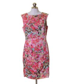 Ann Taylor Pink White Yellow Brown Blue Floral Lined Sheath Dress Size 8