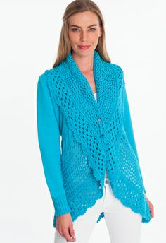 yacht cardigan - Instantly wearable, this yacht cardigan features a slouchy shawl collar and a subtle scalloped trim. Single knit.