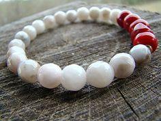Agate Gemstone Bracelet Beaded Bracelet Red Coral Bracelet