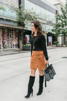 Skirts For Women – My WordPress Website Tall Boots Outfit, Winter Boots Outfits, Winter Skirt Outfit, Winter Outfits Women, Casual Fall Outfits, Winter Fashion Outfits, Autumn Fashion, Skirts With Boots, Black Suede Boots