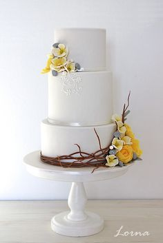 Yellow Flowers.. by Lorna - http://cakesdecor.com/cakes/268268-yellow-flowers