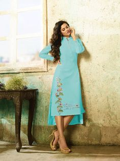 KARMA TC-9003-C RATE : 695 - TUCUTE COLOUR PLUS BY KARMA  TC-9000 AND TC-9003 COLOUR FLEX COTTON WITH THREAD EMBROIDERY WORKED DESIGNER FANCY TUNICS KURTIS AT WHOLESALE PRICE AT DSTYLE ICON FASHION CONTACT: +917698955723 - DStyle Icon Fashion