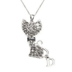 CLOUDREAM Adorable Rhinestone Cat Pendant Necklace