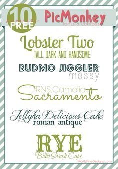 awesome font combinations to use on PicMonkey or anywhere| free fonts | www.MoritzFineBlogDesigns.com