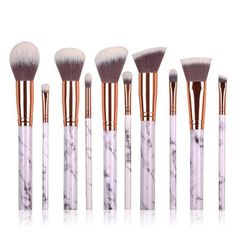 10Pcs Mermaid makeup Brush Set White Foundation Powder Eyeshadow Make-up Brushes Contour