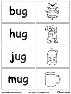 Sort and match words with this UG Word Family printable worksheet. Kindergarten Readiness, Kindergarten Math Worksheets, Preschool Learning, Preschool Writing, Cvc Worksheets, Kindergarten Colors, Teaching, Phonics Words, Cvc Words