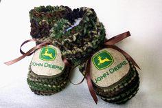 John Deere Logo Authentic Camouflage Baby Boy booties