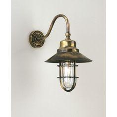 Wheelhouse wall light in antique brass finish
