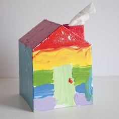 Teacher Gift Ideas - tissue box cover - house tissue box