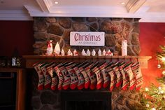Field Stone Fireplace with hand-made personalized Christmas stockings hung with care. These stockings seem to grow in number every year at our house.
