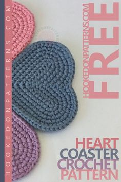 Free Heart Coaster Crochet Pattern These cute heart shaped coasters are made in only 6 rounds. I will guide you through, and beginners can join. Crochet Coaster Pattern, Crochet Geek, Crochet Home, Crochet Gifts, Cute Crochet, Knit Crochet, Doilies Crochet, Crochet Owls, Crochet Braid