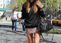 love the black and the mini skirt
