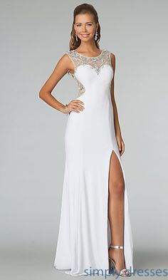 Shop Simply Dresses for sleeveless prom dresses by JVN for Jovani. Long beaded prom dresses and high neck gowns with sheer back for prom.