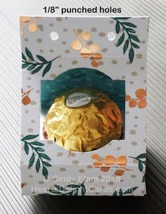 As promised, here is the tutorial for the Ferrero Rocher treat holder. It really is pretty simple, as you will see once you have put it t. Christmas Craft Show, Christmas Favors, Christmas Paper Crafts, Treat Box, Treat Holder, Candy Bar Cards, Fererro Rocher, Candy Crafts, Craft Show Ideas