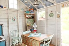 Shed Turned Guest Space - farmhouse - garage and shed - columbus - Julie Ranee Photography Garden Shed Interiors, Country Cottage Interiors, Cottage Design, Garden Sheds, Cottage Style, Cottage Kitchens, Garden Fun, White Cottage, Cottage House