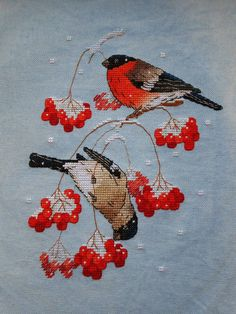 """Cross stitch design """"Bullfinches on the Snowball Tree"""" Designer – Abramova Serafima The size of the embroidery: crosses (for canvas aida 14 is cm) Butterfly Cross Stitch, Mini Cross Stitch, Cross Stitch Animals, Cross Stitch Embroidery, Hand Embroidery, Machine Embroidery, Cross Stitch Designs, Cross Stitch Patterns, Knitting Patterns"""