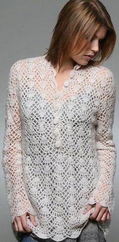 Túnica branca crochet