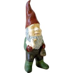 """13"""" German Garden Gnome Painted Cast Iron Elf Sprite Holding a Goose and Bag of Bread Crumbs  found at www.rubylane.com @rubylanecom"""