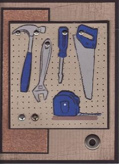 Who's Tools? by donnacook -peg board using the SU Mat Pack & Piercing tool and real sand paper.   Stamps: Totally Tools Paper: Basic Black, Crumb Cake, Pacific Point, Brushed Silver Ink: Basic Black Accessories: Mat Pack, Piercing Tool, Crop-a-Dial Techniques: Piercing