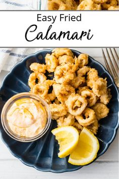 Better than a restaurant Calamari Fritti rings lightly dusted and pan-fried to crispy golden perfection. Served alongside a Peri-Peri Yogurt Dip. Perfect for a big ole fish fry or at home appetizer! Calamari Recipe Easy, Calamari Recipes, Squid Recipes, Seafood Pasta Recipes, Fried Fish Recipes, Italian Fried Calamari Recipe, Deep Fried Calamari, Greek Recipes, Italian Recipes