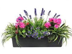Artificial Mixed Flower Window Box Trough Container with Yucca, Geraniums, Starflower and Lavender - Outdoor and Indoor Use - Colourful and Realistic Balcony Flowers, Window Box Flowers, Flower Planters, Fake Flowers, Silk Flowers, Flower Pots, Artificial Flowers Outdoors, Outdoor Flowers, Diy Flower Boxes