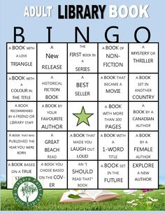 A self-directed summer reading game for adults. Pick up a bingo card, fill appropriate squares as you read books, get a line and enter the draw for wonderful prizes. Reading Bingo, Reading Club, Reading Games, Guided Reading, Bedtime Reading, Library Games, Library Activities, Library Books, Library Ideas