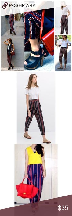 Zara LOOSE FIT WIDE-STRIPED TROUSERS EUC Sz Sm Zara LOOSE FIT WIDE-STRIPED TROUSERS EUC Sz Sm Navy & Red Zara Pants