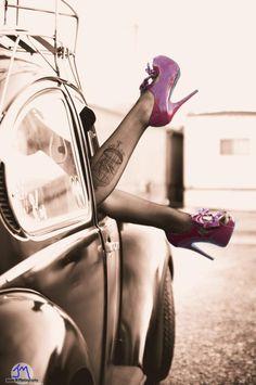 VW Beetle with high heels