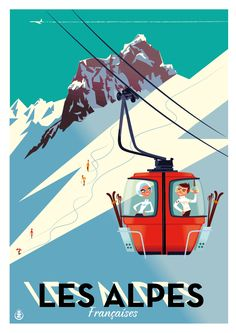 Ski The Alpes vintage travel poster