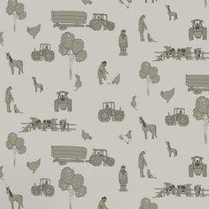 Gorgeous wallpaper -Katie Bourne Cluck A Doodle Farm - Cream / Green