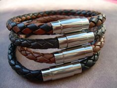 Leather Bracelet with Stainless Steel Magnetic Clasp, Mens Bracelet, Mens Jewelry, Mens Gift