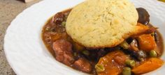 Skillet Beef Pot Pie with drop biscuits