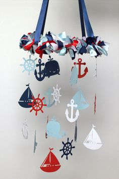 Nautical Nursery Mobile in Red Navy Baby Blue por LoveBugLullabies