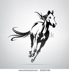 Vector silhouette of a running horse - stock vector                                                                                                                                                                                 More
